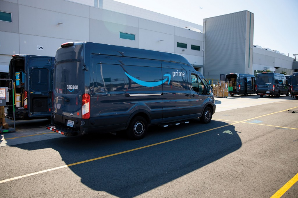 Delivery Vans In Loading Lot Area Cc